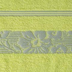 Ręcznik z bawełny z kwiatowym wzorem na bordiurze 50x90cm limonkowy - 50 X 90 cm - zielony 8
