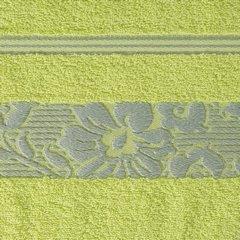Ręcznik z bawełny z kwiatowym wzorem na bordiurze 50x90cm limonkowy - 50 X 90 cm - zielony 4