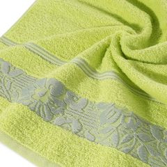 Ręcznik z bawełny z kwiatowym wzorem na bordiurze 50x90cm limonkowy - 50 X 90 cm - zielony 10