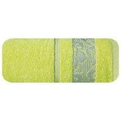 Ręcznik z bawełny z kwiatowym wzorem na bordiurze 70x140cm limonkowy - 70 X 140 cm - zielony 2