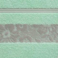 Ręcznik z bawełny z kwiatowym wzorem na bordiurze 50x90cm miętowy - 50 X 90 cm - miętowy 10