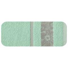 Ręcznik z bawełny z kwiatowym wzorem na bordiurze 50x90cm miętowy - 50 X 90 cm - miętowy 2