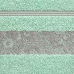 Ręcznik z bawełny z kwiatowym wzorem na bordiurze 50x90cm miętowy - 50 X 90 cm - miętowy 4