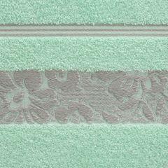 Ręcznik z bawełny z kwiatowym wzorem na bordiurze 70x140cm miętowy - 70 X 140 cm - miętowy 9