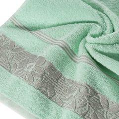 Ręcznik z bawełny z kwiatowym wzorem na bordiurze 70x140cm miętowy - 70 X 140 cm - miętowy 5