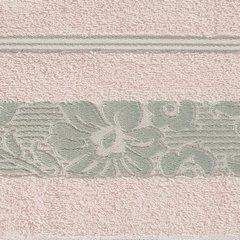 Ręcznik z bawełny z kwiatowym wzorem na bordiurze 70x140cm jasnoróżowy - 70 X 140 cm - różowy 10