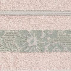 Ręcznik z bawełny z kwiatowym wzorem na bordiurze 70x140cm jasnoróżowy - 70 X 140 cm - różowy 4