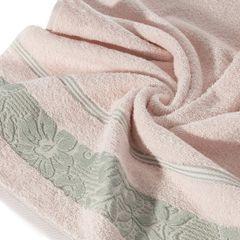 Ręcznik z bawełny z kwiatowym wzorem na bordiurze 70x140cm jasnoróżowy - 70 X 140 cm - różowy 5
