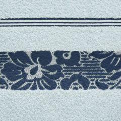 Ręcznik z bawełny z kwiatowym wzorem na bordiurze 50x90cm niebieski - 50 X 90 cm - niebieski 9