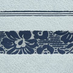 Ręcznik z bawełny z kwiatowym wzorem na bordiurze 50x90cm niebieski - 50 X 90 cm - niebieski 10