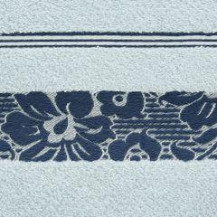 Ręcznik z bawełny z kwiatowym wzorem na bordiurze 50x90cm niebieski - 50 X 90 cm - niebieski 4