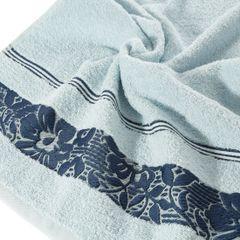 Ręcznik z bawełny z kwiatowym wzorem na bordiurze 50x90cm niebieski - 50 X 90 cm - niebieski 5