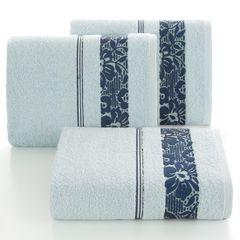 Ręcznik z bawełny z kwiatowym wzorem na bordiurze 70x140cm niebieski - 70 X 140 cm - niebieski 1