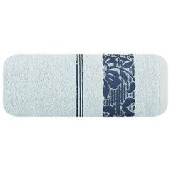 Ręcznik z bawełny z kwiatowym wzorem na bordiurze 70x140cm niebieski - 70 X 140 cm - niebieski 2