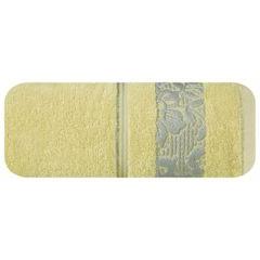 Ręcznik z bawełny z kwiatowym wzorem na bordiurze 50x90cm jasnożółty - 50 X 90 cm - żółty 2