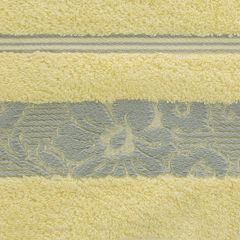 Ręcznik z bawełny z kwiatowym wzorem na bordiurze 50x90cm jasnożółty - 50 X 90 cm - żółty 4