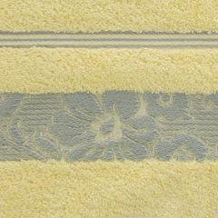 Ręcznik z bawełny z kwiatowym wzorem na bordiurze 70x140cm jasnożółty - 70 X 140 cm - żółty 9