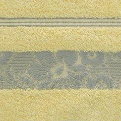 Ręcznik z bawełny z kwiatowym wzorem na bordiurze 70x140cm jasnożółty - 70x140 - żółty 4