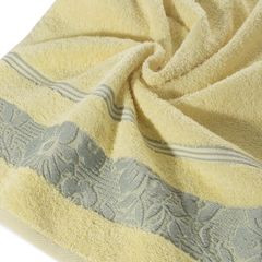Ręcznik z bawełny z kwiatowym wzorem na bordiurze 70x140cm jasnożółty - 70x140 - żółty 2