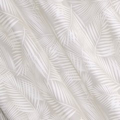 Zasłona beżowa w delikatne białe liście na przelotkach 140 x 250 cm  - 140x250 - beżowy 2