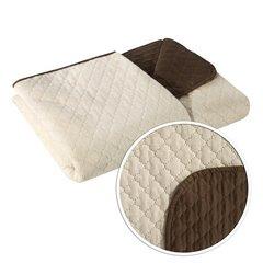 Narzuta na łóżko dwustronna marokańska koniczyna 220x240 cm kremowo-brązowa - 220 X 240 cm - kremowy/brązowy 5