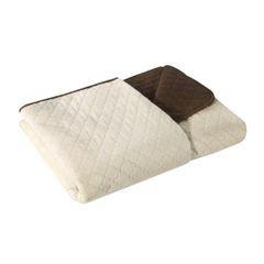 Narzuta na łóżko dwustronna marokańska koniczyna 220x240 cm kremowo-brązowa - 220 X 240 cm - kremowy/brązowy 2