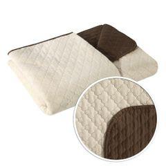 Narzuta na łóżko dwustronna marokańska koniczyna 220x240 cm kremowo-brązowa - 220x240 - kremowy / brązowy 1