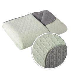 Narzuta na łóżko dwustronna marokańska koniczyna 170x210 cm miętowo-szara - 170 x 210 cm - miętowy/stalowy 5