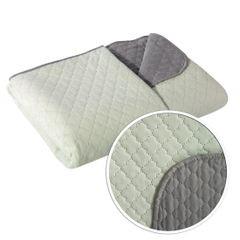 Narzuta na łóżko dwustronna marokańska koniczyna 220x240 cm miętowo-szara - 220 X 240 cm - miętowy/stalowy 7