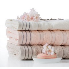 Ręcznik z bawełny z częścią ozdobną przetykaną błyszczącą nicią 70x140cm - 70 X 140 cm - kremowy 10