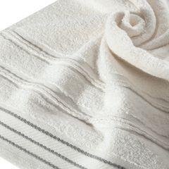 Ręcznik z bawełny z częścią ozdobną przetykaną błyszczącą nicią 50x90cm - 50 X 90 cm - kremowy 9