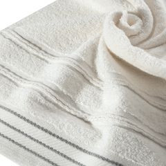 Ręcznik z bawełny z częścią ozdobną przetykaną błyszczącą nicią 50x90cm - 50 X 90 cm - kremowy 2
