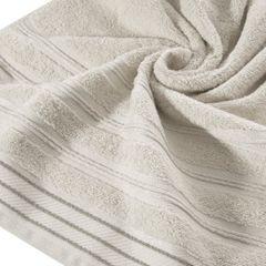 Ręcznik z bawełny z częścią ozdobną przetykaną błyszczącą nicią 70x140cm - 70 X 140 cm - beżowy 5