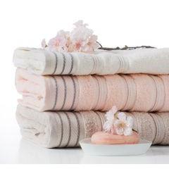 Ręcznik z bawełny z częścią ozdobną przetykaną błyszczącą nicią 70x140cm - 70 X 140 cm - beżowy 7