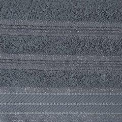 Ręcznik z bawełny z częścią ozdobną przetykaną błyszczącą nicią 50x90cm - 50 X 90 cm - stalowy 3