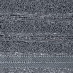Ręcznik z bawełny z częścią ozdobną przetykaną błyszczącą nicią 50x90cm - 50 X 90 cm - stalowy 4