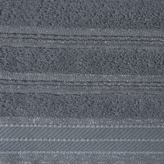 Ręcznik z bawełny z częścią ozdobną przetykaną błyszczącą nicią 70x140cm - 70 X 140 cm - stalowy 8