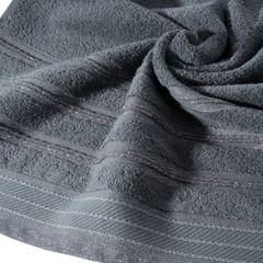 Ręcznik z bawełny z częścią ozdobną przetykaną błyszczącą nicią 70x140cm - 70 X 140 cm - stalowy 10