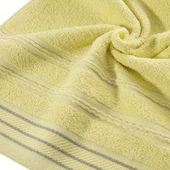 Ręcznik z bawełny z częścią ozdobną przetykaną błyszczącą nicią 70x140cm - 70 X 140 cm - żółty 9