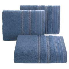 Ręcznik z bawełny z częścią ozdobną przetykaną błyszczącą nicią 70x140cm - 70x140 - granatowy 1
