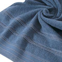 Ręcznik z bawełny z częścią ozdobną przetykaną błyszczącą nicią 70x140cm - 70x140 - granatowy 2