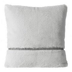 Poszewka na poduszkę 45 x 45 cm szara futerko z połyskującym paskiem  - 45 X 45 cm - srebrny 1