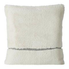 Poszewka na poduszkę 45 x 45 cm kremowa futerko z połyskującym paskiem  - 45 X 45 cm - kremowy 1