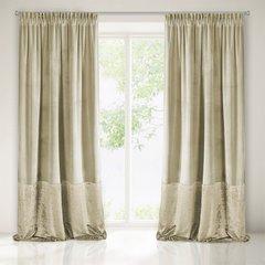 Zasłona z dwóch rodzajów tkaniny welwetowej 140 x 270 cm beżowa na taśmie  - 140x270 - beżowy 1