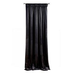 Zasłona z dwóch rodzajów tkaniny welwetowej 140 x 270 cm czarna na taśmie  - 140 X 270 cm - czarny 5