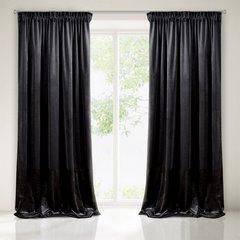 Zasłona z dwóch rodzajów tkaniny welwetowej 140 x 270 cm czarna na taśmie  - 140x270 - czarny 1