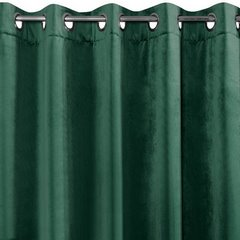 Zasłona welwetowa zielona 140x250 - 10 przelotek - 140 X 250 cm - ciemnozielony 2