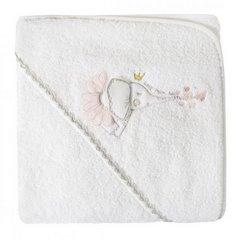 Dziecięcy ręcznik kąpielowy biały słoń z kapturem 75x75 cm - 75 X 75 cm - biały 2