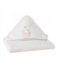 Dziecięcy ręcznik kąpielowy biały słoń z kapturem 75x75 cm - 75 X 75 cm - biały 3