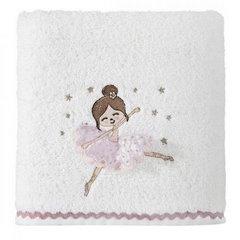 Ręcznik dziecięcy z trójwymiarową aplikacją z dziewczynką 70x140cm - 70 X 140 cm - biały 1